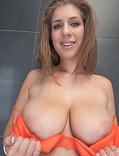 Alexx Oiling Her Boobs